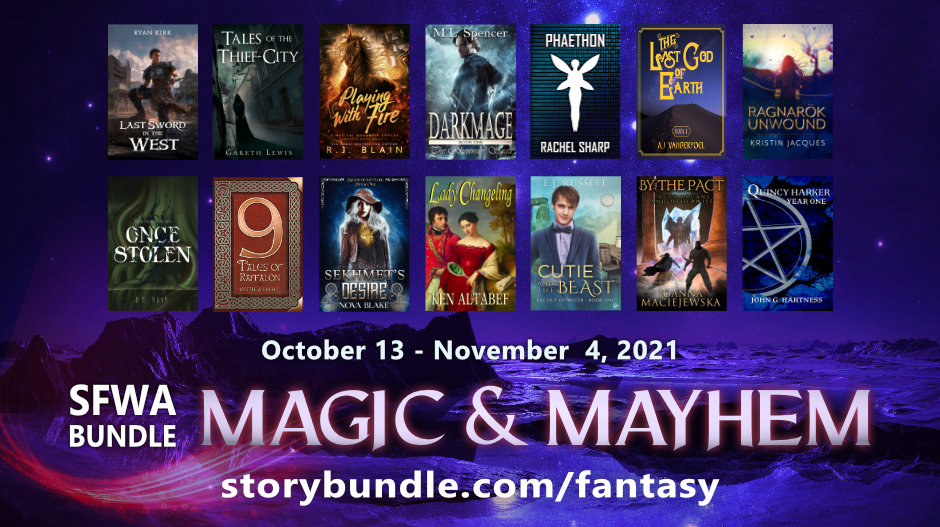 Promo graphic for the Magic and Mayhem StoryBundle with all 14 covers shown.